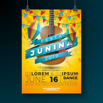 Ilustração do molde do cartaz do partido de festa junina com guitarra acústica.