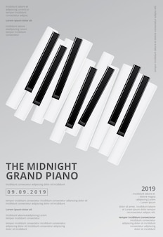 Ilustração do molde do fundo do cartaz do piano de cauda da música
