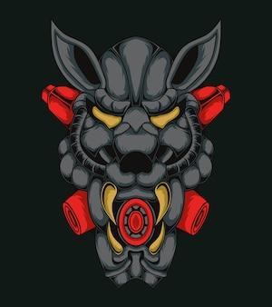Ilustração do monstro com cabeça de tigre robótico