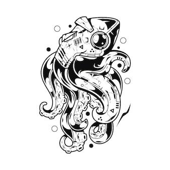 Ilustração do monstro de kraken e design de tshirt