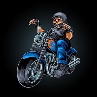 Ilustração do motociclista do crânio