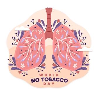 Ilustração do mundo desenhado à mão sem tabaco