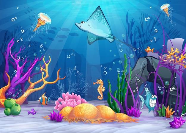 Ilustração do mundo subaquático com uma rampa engraçada de peixes e peixes