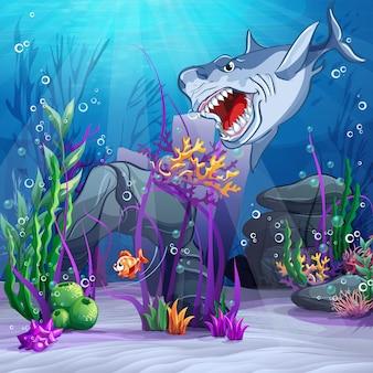 Ilustração do mundo subaquático e do tubarão malvado