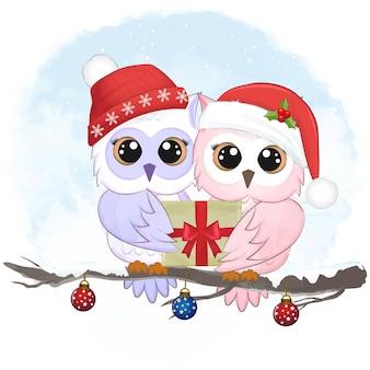 Ilustração do natal com caixa de presente e coruja fofa