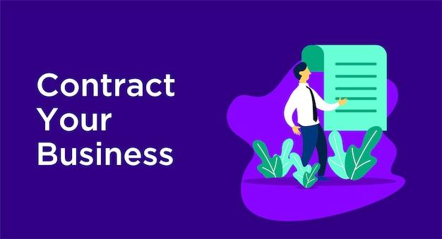 Ilustração do negócio de contrato