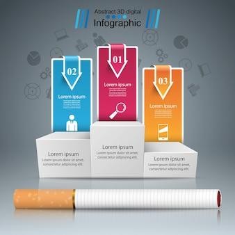 Ilustração do negócio de um cigarro e dano.