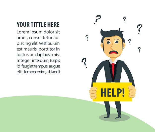 Ilustração do negócio. empresário como help desk.