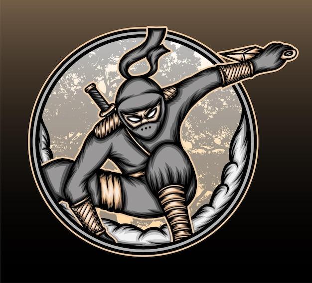 Ilustração do ninja japonês.