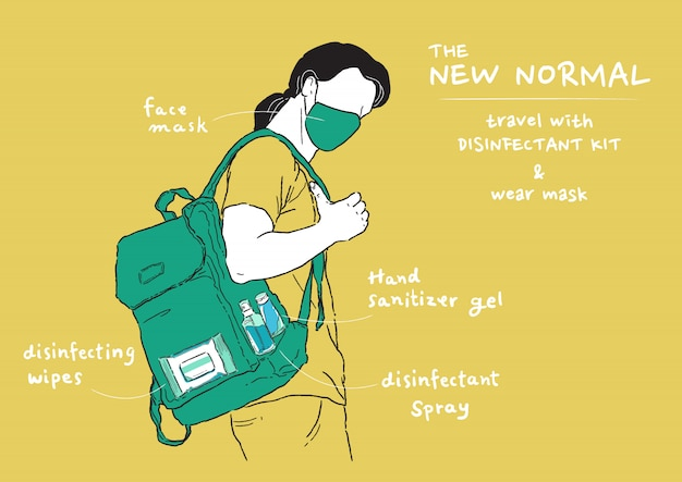 Ilustração do novo estilo de vida normal. equipe a máscara e leve o kit desinfetante ao sair para casa. proteja-se contra vírus, coronavírus (covid-19).