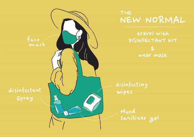 Ilustração do novo estilo de vida normal. usando máscara e leve o kit desinfetante quando sair para casa. proteja-se contra vírus, coronavírus (covid-19).