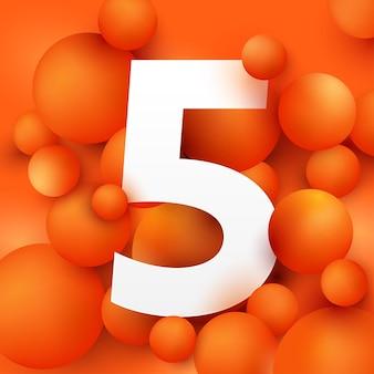 Ilustração do número cinco na bola laranja.