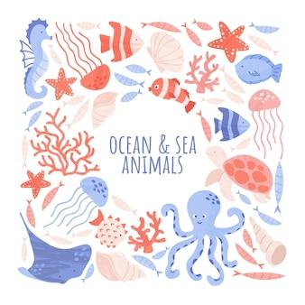Ilustração do oceano e dos animais marinhos