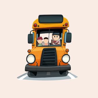 Ilustração do ônibus escolar desenhada à mão