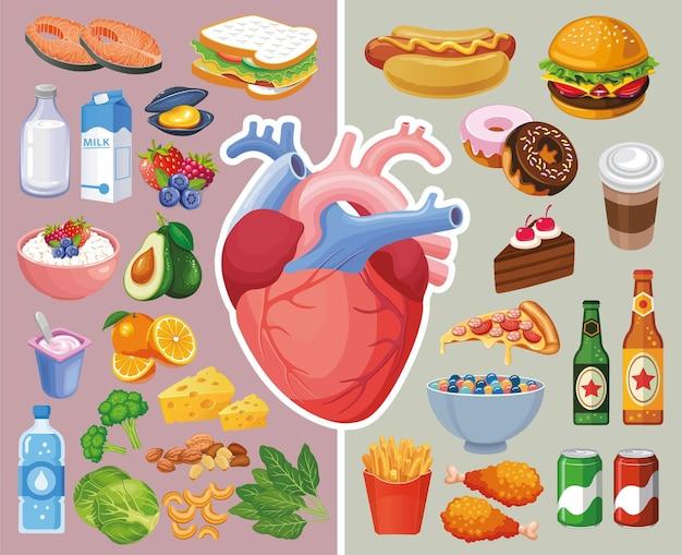 Ilustração do órgão do coração com alimentos saudáveis e alimentos não saudáveis