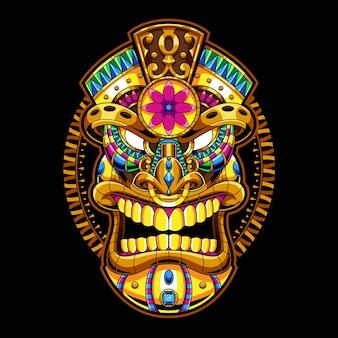 Ilustração do ornamento da máscara tiki e design da camiseta