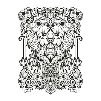 Ilustração do ornamento do crânio do leão