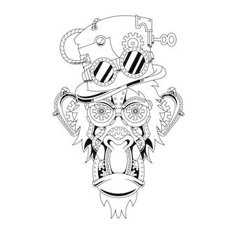 Ilustração do ornamento do macaco steampunk em estilo linear