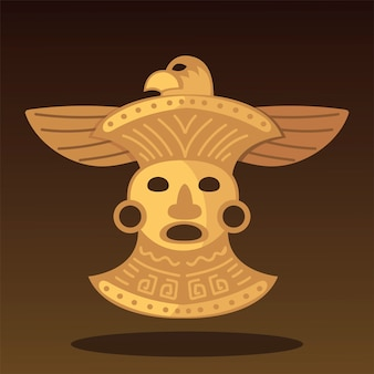 Ilustração do ornamento do pássaro do tesouro tribal étnico asteca