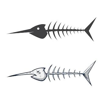 Ilustração do osso do espadim de peixe