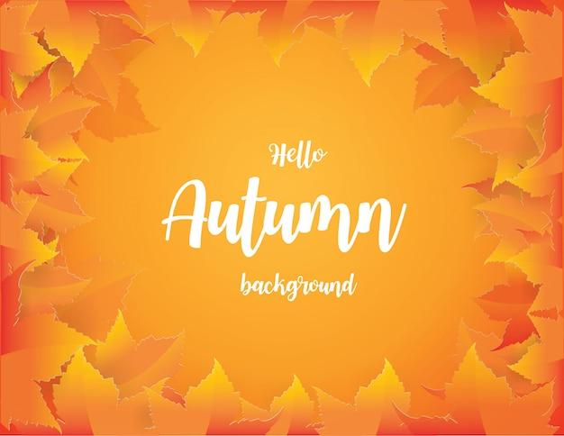Ilustração do outono com as folhas de outono de queda vermelhas, alaranjadas, marrons e amarelas.