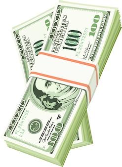 Ilustração do pacote de dólar no fundo branco