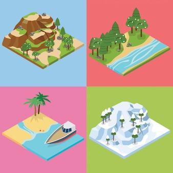 Ilustração do pacote de paisagem isométrica