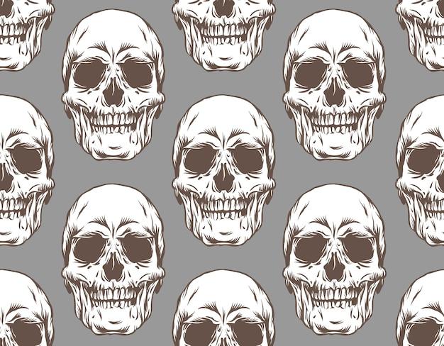 Ilustração do padrão sem emenda do crânio em fundo cinza