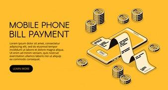 Ilustração do pagamento de conta do telefone móvel do smartphone com recibo do dinheiro e da factura.