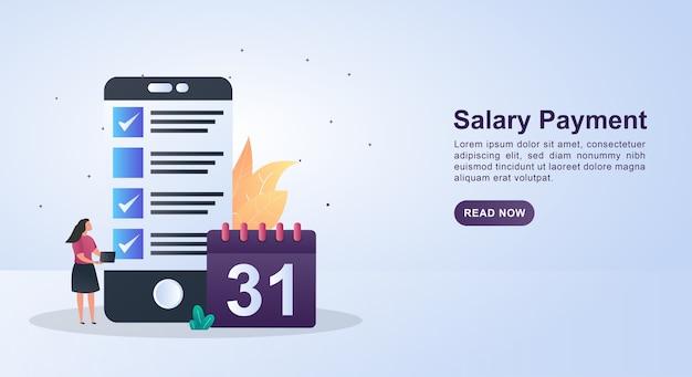 Ilustração do pagamento do salário com folha de pagamento e data no calendário.