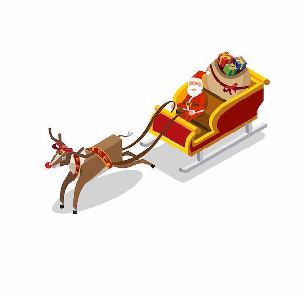 Ilustração do papai noel andando de trenó de renas