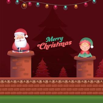 Ilustração do papai noel com duende dos desenhos animados na chaminé e árvores de natal para a celebração do feliz natal.