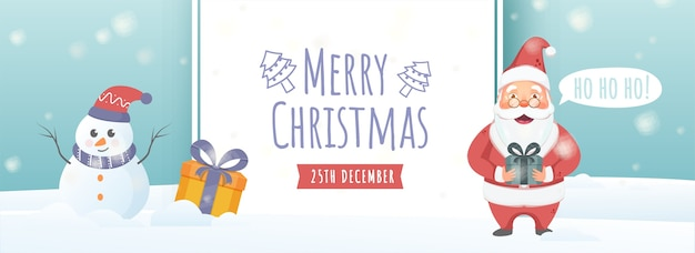 Ilustração do papai noel dizendo oh oh oh com caixas de presente e boneco de neve no fundo da cerceta de queda de neve para a celebração do feliz natal.