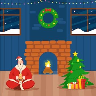 Ilustração do papai noel ouve música com fones de ouvido na vista interna decorada com árvore de natal