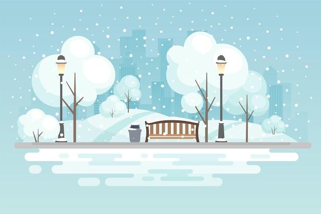 Ilustração do parque da cidade de inverno
