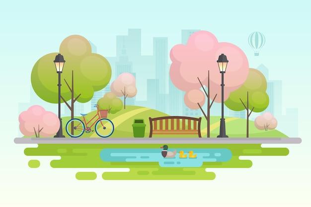 Ilustração do parque da cidade de primavera