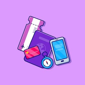 Ilustração do passaporte, cartão de embarque, bússola, cartão e celular