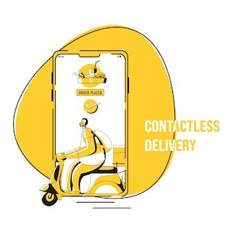 Ilustração do pedido de aprovação colocado no smartphone com o courier boy riding scooter para entrega sem contato durante o coronavirus.