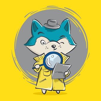 Ilustração do pequeno detetive lobo fofo com desenho de lupa