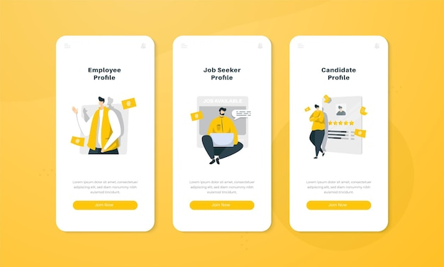 Ilustração do perfil do candidato no conceito de interface da tela integrada