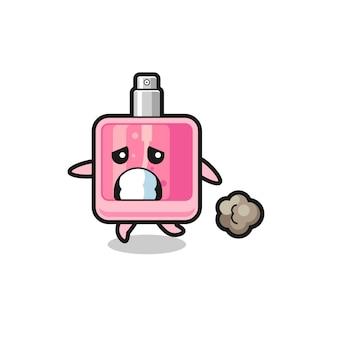 Ilustração do perfume correndo com medo, design de estilo fofo para camiseta, adesivo, elemento de logotipo