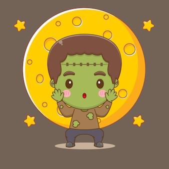 Ilustração do personagem adorável zumbi frankenstein chibi