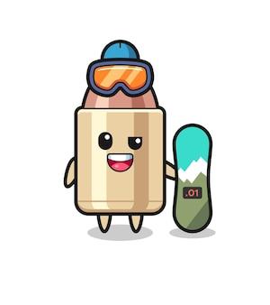 Ilustração do personagem bala com estilo de snowboard, design de estilo fofo para camiseta, adesivo, elemento de logotipo
