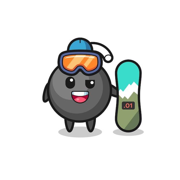 Ilustração do personagem bomba com estilo de snowboard, design de estilo fofo para camiseta, adesivo, elemento de logotipo