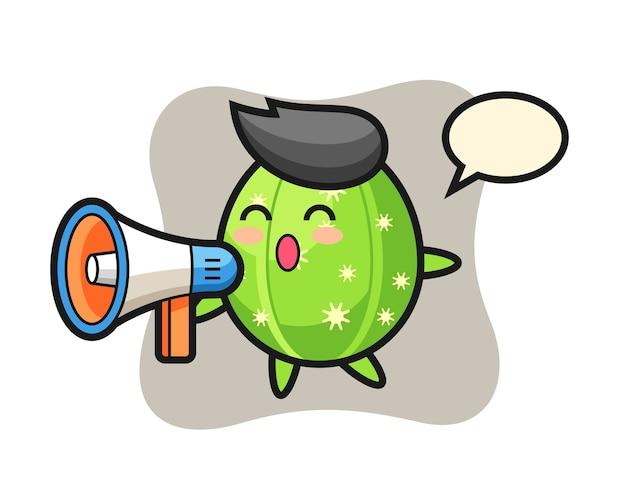 Ilustração do personagem cacto segurando um megafone