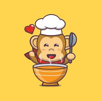 Ilustração do personagem chef macaco fofo