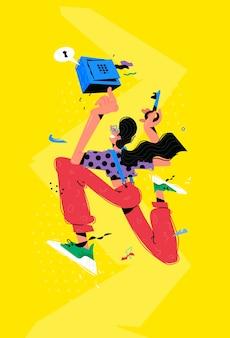 Ilustração do personagem com caixa e chave. uma metáfora sobre a preservação do que há de mais valioso na caixa de células do banco.