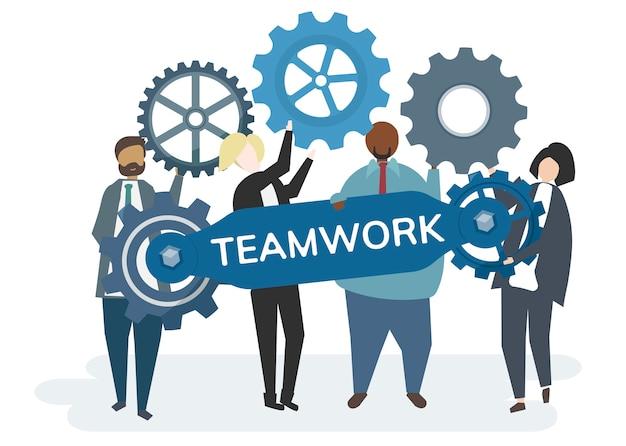 Ilustração do personagem com engrenagens de roda dentada retratando o conceito de trabalho em equipe