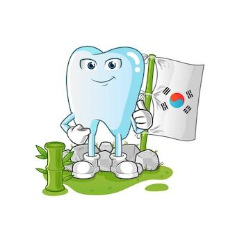 Ilustração do personagem coreano de dente
