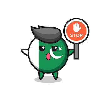 Ilustração do personagem da bandeira do paquistão segurando uma placa de pare, design bonito